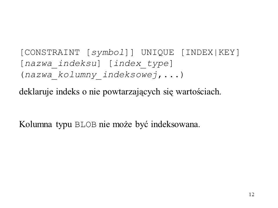 [CONSTRAINT [symbol]] UNIQUE [INDEX|KEY] [nazwa_indeksu] [index_type] (nazwa_kolumny_indeksowej,...)